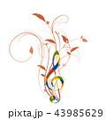 音楽 五線譜 生け花 ト音記号 譜面 音符 ミュージック 43985629