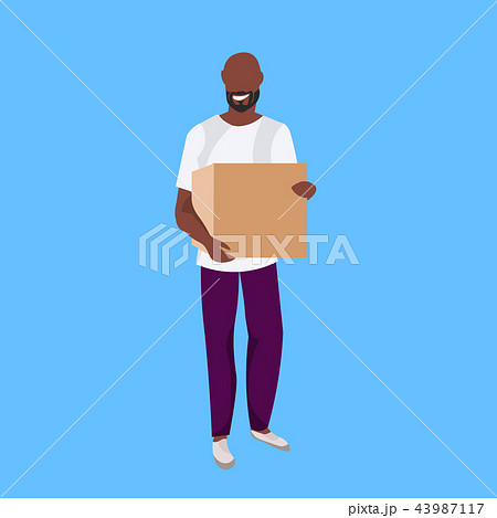 african american man courier holding paper parcel box delivery concept happy postman male cartoon 43987117