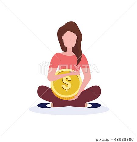 businesswoman holding dollar coin money wealth growth concept business woman lotus pose cash payment 43988386