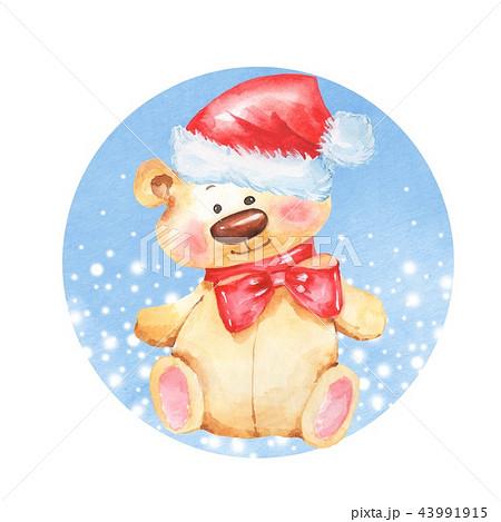 Cartoon lovely Teddy Bear. Christmas card 43991915