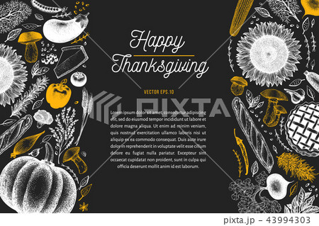 happy thanksgiving day design template vector hand drawn