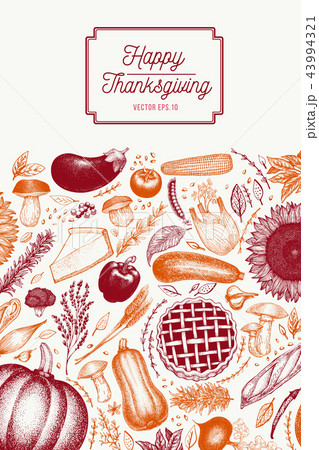 greeting thanksgiving card in retro style happy thanksgiving day