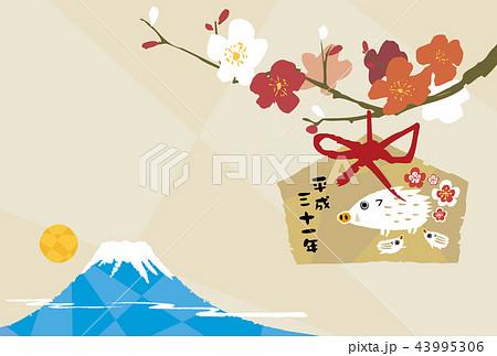 梅と富士山_年賀はがき 43995306