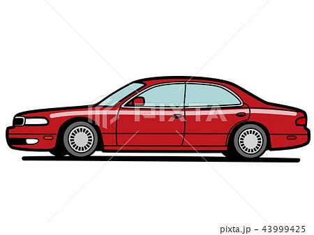 90年代風 国産ビッグセダン 赤系 自動車イラスト 43999425