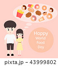 Boy and girl are happy in world food day 43999802