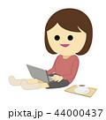 パソコン 女性 笑顔のイラスト 44000437