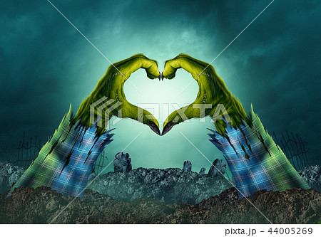 Zombie Monster Hand Heart Background 44005269