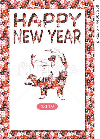 2019年賀状「フラワーイノシシ」ハッピーニューイヤー 手書き文字スペース空き
