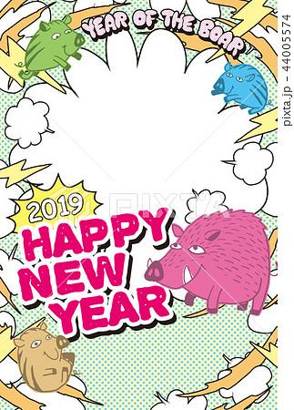 2019フォトフレーム年賀状「ポップデザイン」ハッピーニューイヤー 手書き文字スペース空き 44005574