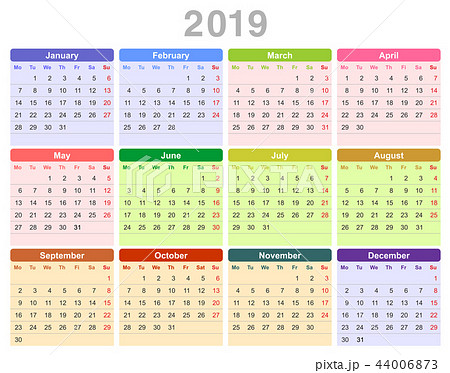2019 year annual calendar (Monday first, English) 44006873