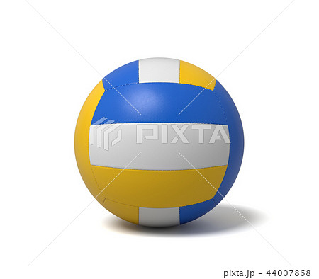 3d rendering of a single three-colored volleyball ball with a shadow lying on a white background. 44007868