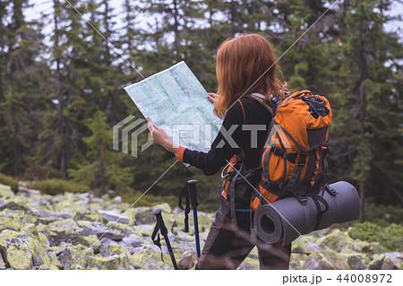tourist girl at the Carpathians 44008972