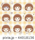 女性 女の子 表情のイラスト 44018136