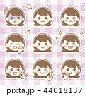 女性 女の子 表情のイラスト 44018137