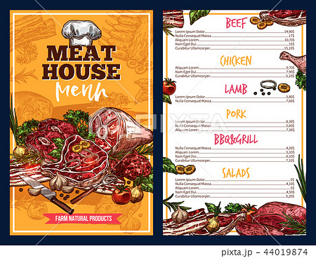 Butchery products meat house menu 44019874