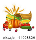 Realistic Detailed 3d Cornucopia or Horn of Plenty. Vector 44023329