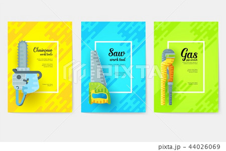 different construction company brochure cards. Working tools template of flyear, magazines, posters 44026069