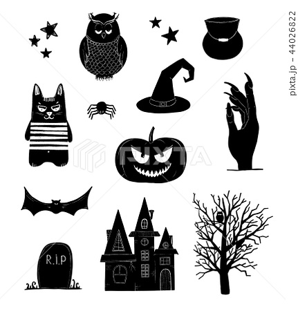 Halloween vector clip art. Black and white pumpkin 44026822