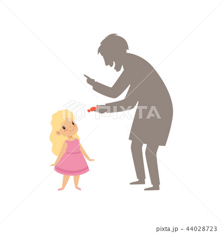 Suspicious stranger offering a candy to a little girl, kid in dangerous situation vector 44028723