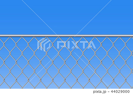 Creative vector illustration of chain link fence wire mesh steel metal isolated on transparent 44029000