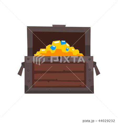 opened wooden chest with treasures vector illustration on a white