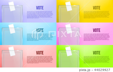 Creative vector illustration of realistic empty transparent ballot box with voting paper in hole 44029927