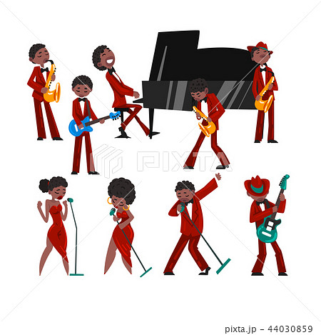 African American jazz band, black men and women singing, different musical instruments vector 44030859