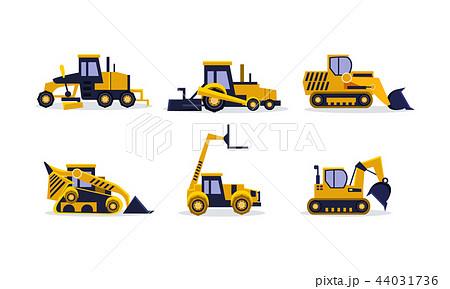 Flat vector set of colorful construction vehicles. Excavator, wheel loader, bulldozer, grader. Heavy 44031736