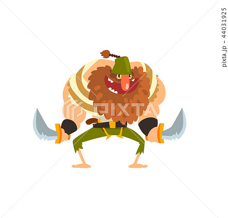 Angry muscular bearded pirate character with swords vector Illustration on a white background 44031925