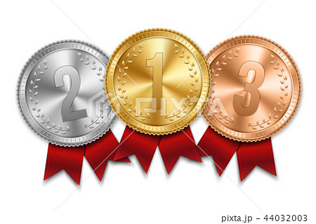 Creative vector illustration of realistic gold, silver and bronze medal set on colorful ribbon 44032003