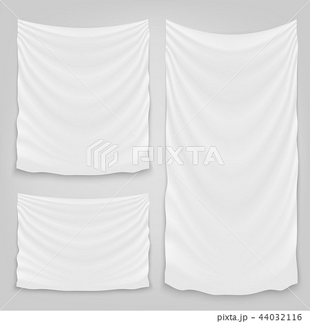 Creative vector illustration of hanging empty white cloth isolated on background. Art design banner 44032116