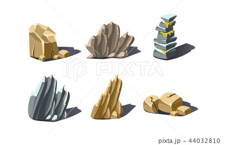 Stones of various shapes set, rocks and boulders vector Illustration on a white background 44032810