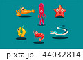 Sea creatures set, cute funny animals and fishes characters, squid, starfish, shrimp, lobster 44032814