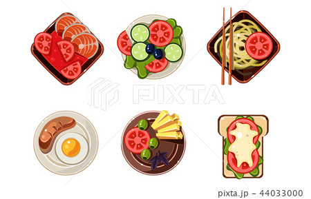 Tasty healthy dishes from different countries of the world set, dinner table, top view vector 44033000