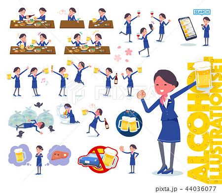 flat type Cabin attendant blue woman_alcohol 44036077