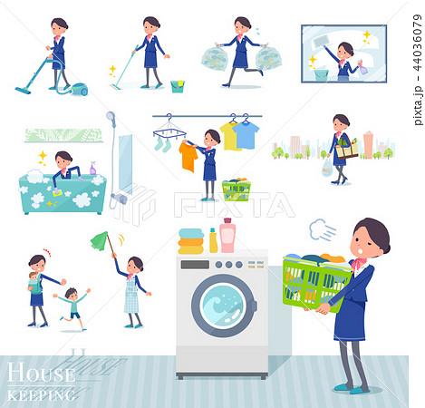 flat type Cabin attendant blue woman_housekeeping 44036079