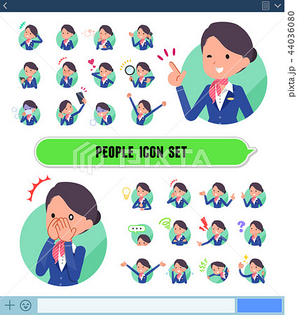 flat type Cabin attendant blue woman_icon 44036080