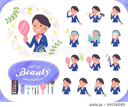 flat type Cabin attendant blue woman_beauty 44036089