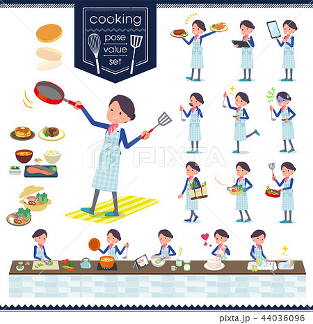 flat type Cabin attendant blue woman_cooking 44036096