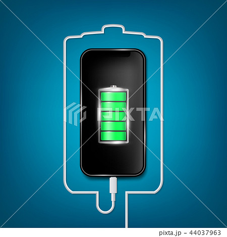 Creative vector illustration of full charged battery smartphone with cellphone usb plugs cable 44037963