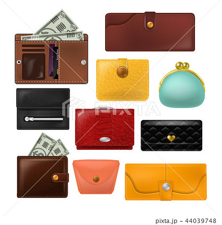 Wallet vector leather purse and business billfold with banknotes money illustration set of financial 44039748