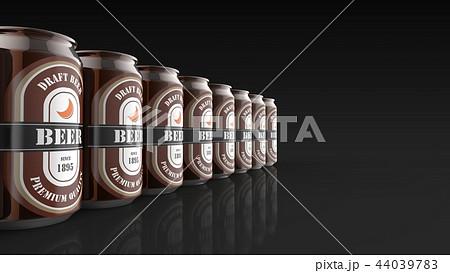 缶ビール 大量 左 黒背景 44039783