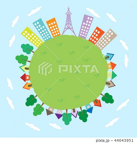地球の周りに立つ住宅とビルのイラストのイラスト素材 44043951 Pixta