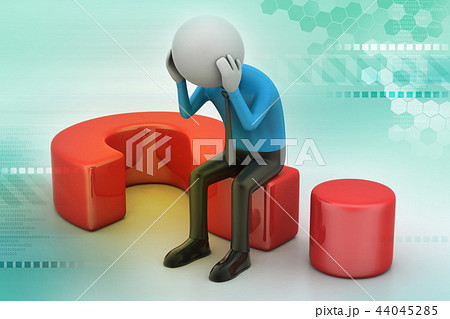 man sitting on a question mark. Business concept. 44045285