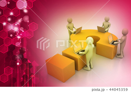 3d people with laptop and question markのイラスト素材 44045359 pixta