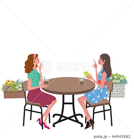 カフェ 会話 女性 イラスト 44045682
