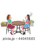カフェ 会話 女性のイラスト 44045683
