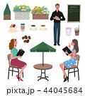 カフェ 女性 イラスト セット 44045684