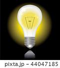 光る電球のイラスト|黒い背景|Light bulb illustration 44047185