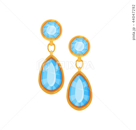 Gold earrings with blue gemstones, fashionable jewelry vector Illustration on a white background 44047292